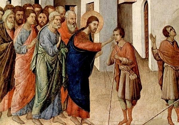Duccio, Isus liječi slijepca